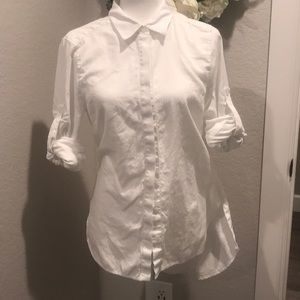 BCBG MAXAZRIA Aylin high-low white dress shirt